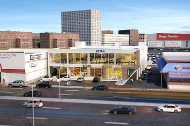 A rendering of a new retail space planned for Queens Boulevard which will include a gym and a drive-thru coffee shop.