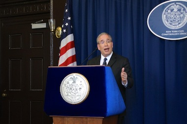 Comptroller Scott Stringer presented his review of Mayor Bill de Blasio's executive budget on June 4, 2013.