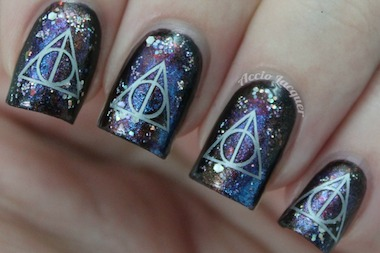 This look from Fandom Cosmetics has decal stick-ons inspired by the Deathly Hallows from the Harry Potter movies.