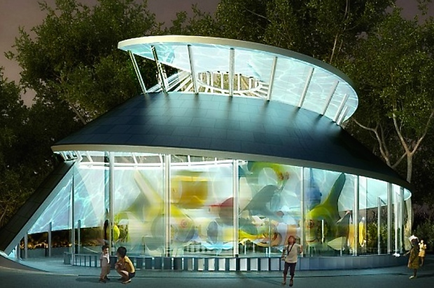 The massive, whimsical SeaGlass was slated for spring of 2013, then delayed until 2014, and is now slated for 2015.