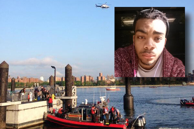 Divers searched the waters off Williamsburg for a man who had been swept away, police said.