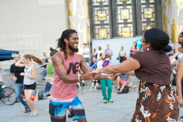Free jazz and swing dancing lessons and concerts will take place every Wednesday in June and July outside of the main branch of the Brooklyn Public Library.