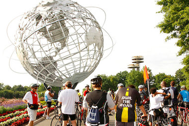 The annual Tour De Queens starts and finishes in Flushing Meadows-Corona Park. This photo is from the 2012 ride.