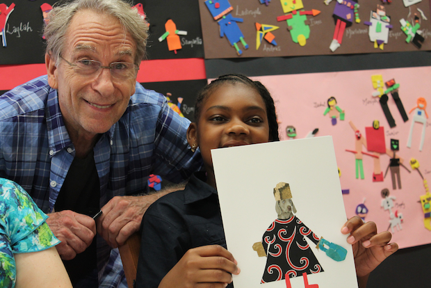 The photographer spent time with burgeoning artists Tuesday at P.S. 145 on West 105th Street.