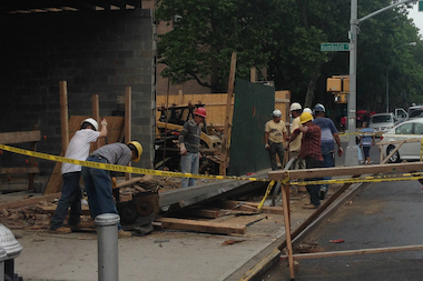 A woman was hurt when a Bushwick building partially collapsed Thursday.