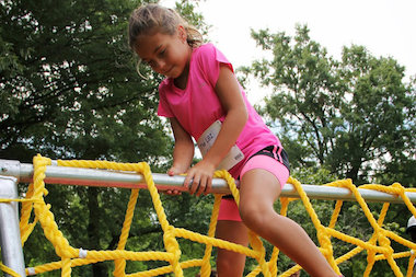 The race features 12 activities that includes javelin throwing and a mini climbing wall.