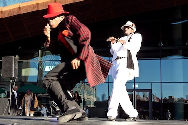 Performers outside Barclays Center at last year's BEAT Festival.