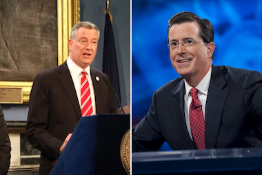 "Mayor Bill de Blasio is slated to appear on ""The Colbert Report"" July 16. The show airs at 11:30 p.m. on Comedy Central."