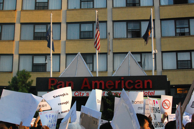 "Residents will catch ""How to Train Your Dragon 2"" ahead of another protest at former Pan Am Hotel."