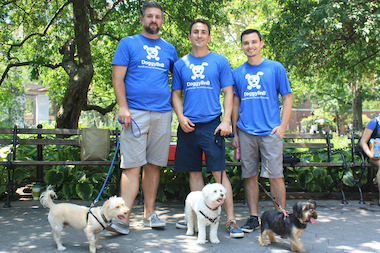 From left to right: Co-founders of the DoggyBnB app Adam Pokornicky, Dan Joldzic and Matt Luckey with their dogs, promoting their app in Washington Square Park on Tuesday.