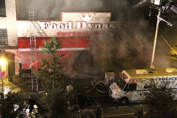 A fire engulfed Food Dynasty supermarket in Hunts Point and injured five people, including one child, the FDNY said.