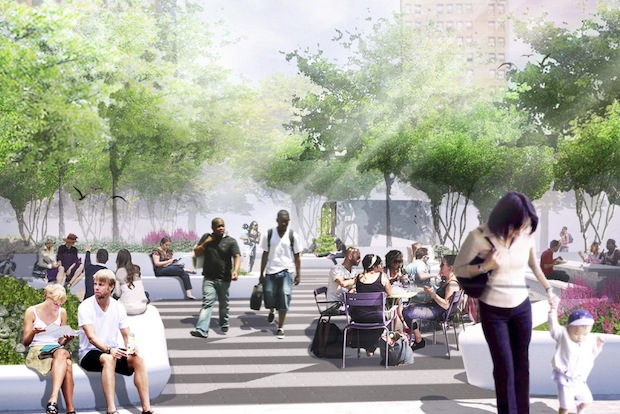 West 8, the landscape architects of the project, presented updated plans for a 15,000-square-foot park that will be part of the Essex Crossing development.