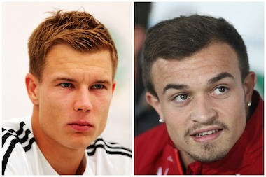 FC Bayern players Holger Badstuber, left, and Xherdan Shaqiri, right, will sign autographs on Aug. 1 at Paulaner, 265 Bowery.