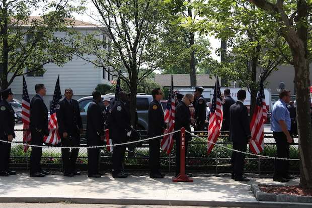 Lt. Gordon Ambelas was remembered by his co-workers as a brave firefighter dedicated to the FDNY at his wake on Tuesday, July 8, 2014.
