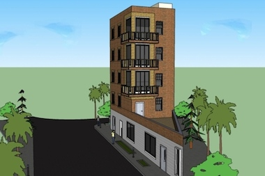 Construction has begun on a new triangular building located between Washington Avenue and the Franklin Avenue shuttle.