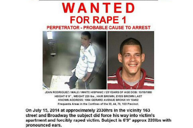 Jean Rodriguez, 32, is wanted for a push-in rape in Washington Heights on July 15, 2014, police said.