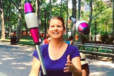 Former Ringling Brothers performer Heather Wolf is hosting free juggling sessions Mondays at noon in Cadman Plaza.