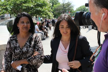 Kika Cerpa (left) spoke at a press conference July 17, 2014 about being a victim of sex trafficking when she arrived in the U.S. from Venezuela.