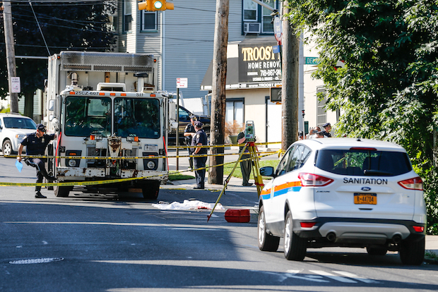 A Department of Sanitation truck fatally struck a woman in Port Richmond Friday morning, police said.