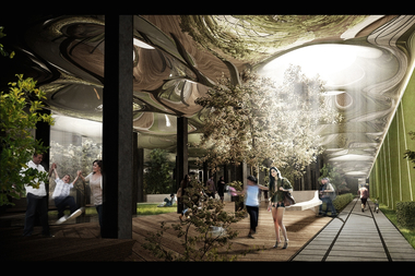 A rendering of the proposed Lowline subterranean park on the Lower East Side.