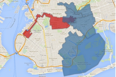 A map of the area in Brooklyn unrepresented by either a state senator, a member of the assembly or both.