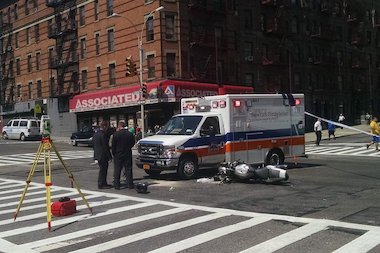 The two vehicles collided in Carnegie Hill on Friday morning, officials said.