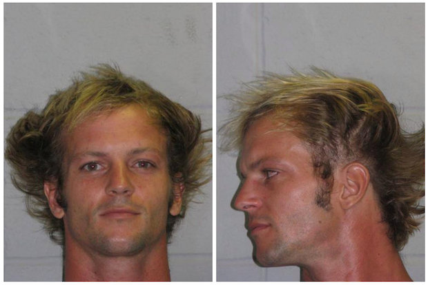 Well-traveled surfer Corey Pohan, 32, hid on the roof of the New Jersey Turnpike Wednesday afternoon, July 9, 2014, before being caught and arrest by a state trooper. He was accused of assaulting a man in Hells Kitchen in an argument over a dog.