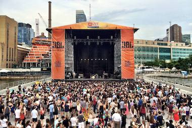 The new concert venue at Pier 97 can hold more than 5,000 people and faces the Hudson River.