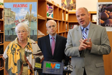 Schools Chancellor Carmen Fariña, First Deputy Mayor Tony Shorris and UFT president Michael Mulgrew announced dozens of schools will enter the UFT-supported innovation progaram on July 7, 2014.