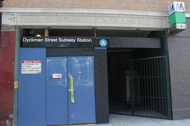 A new sign near the subway entrance says that repairs will be finished Aug. 25.