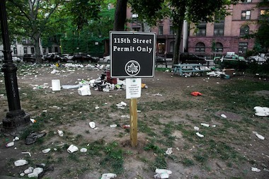 Police from the 26th Precinct are investigating their response to a massive, unauthorized gathering in Morningside Park this past weekend that area residents say jammed two avenues with double parked cars and left the park filled with trash and debris.