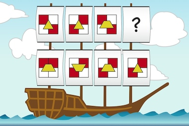 A sample question from Bright Kids NYC for practicing for the AABL test that some private schools will require. Can you figure out what shape should replace the question mark? Scroll down to take the quiz.