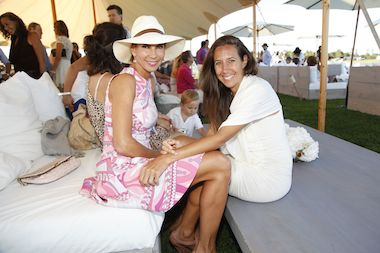 Silke Tsitiridis and Gaby Karen de Felice at a Bridgehampton Polo Club match.