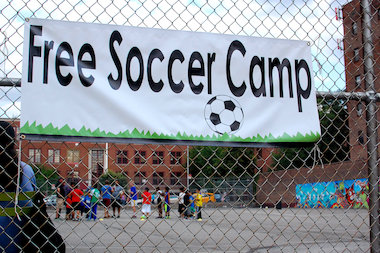 The free soccer camp at Rory Staunton Field started June 1.