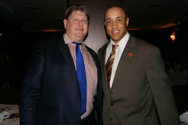 Terrence Tierney poses with Knicks great John Starks at fund-raiser for Tierney's charity Friends of the Fighting 69th. The state Attorney General's Office is currently investigating Tierney after complaints that he allegedly misused funds from the charity, court records show.