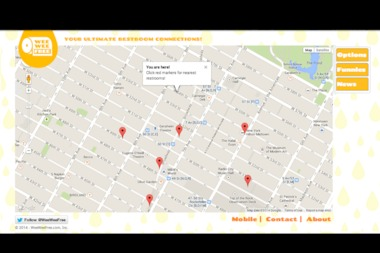 WeeWeeFree is a web-based app on desktop and mobile browsers that helps New Yorkers and tourists find open restrooms.