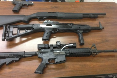 These weapons were found in a car driving the wrong way down Seventh Avenue early Wednesday morning, police said.