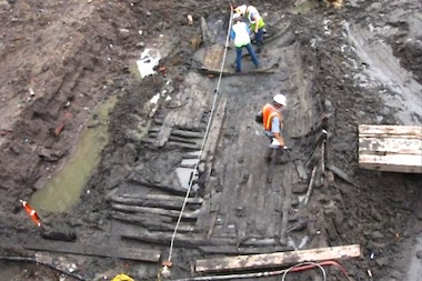 The ship was uncovered in 2010, while workers were excavating the World Trade Center site.