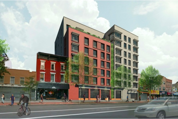 Renderings for 695 Grand St., an eight-story affordable housing building proposed by St. Nicks Alliance.