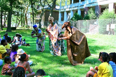 A storytelling session during the African Film Festival's 2013 celebration on Governors Island engaged its young audience.