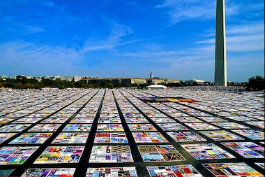 A portion of the AIDS Memorial Quilt, pictured here in Washington, D.C., will be displayed on Governors Island on Aug. 11 and Aug. 12.