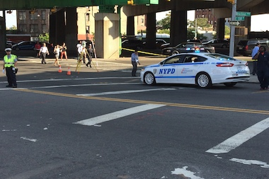 A woman was struck by a car at Bruckner Boulevard and 138th Street on Aug. 18, 2014.