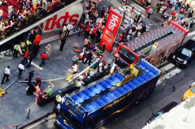 The scene of a tour bus crash near Seventh Avenue and West 47th Street Aug. 5, 2014.