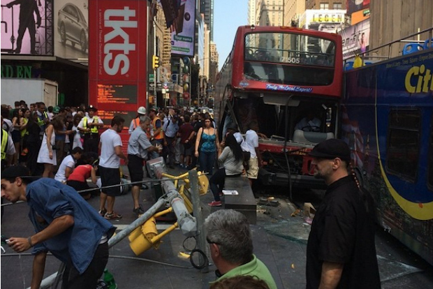 A bus crash near Seventh Avenue and West 47th Street left people hurt Aug. 5, 2014.