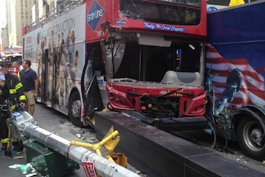 William Dalembert was arrested Tuesday after crashing his Gray Line bus in Times Square, police said.