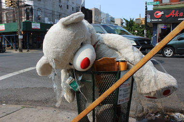 "A teddy bear at Harman Street and Wyckoff Avenue in Bushwick was taken down by the city for being ""unsightly"" and ""a vision hazard,"" the city said."
