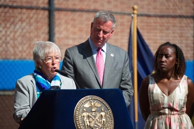 Schools Chancellor Carmen Fariña and Mayor Bill de Blasio announced that scores were up slightly on standardized state tests, on Thursday, Aug. 14, in Bedford-Stuyvesant.