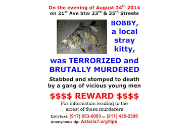"Cat caretakers in the neighborhood have been hanging up fliers about the death of ""Bobby,"" a stray cat that was found dead on 21st Avenue on Sunday."