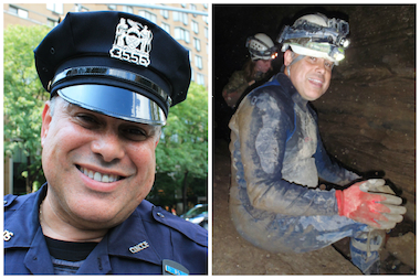 Serafin Rivera, a police officer with the Sanitation Department for more than 10 years, brings fellow New Yorkers on caving trips on weekends.