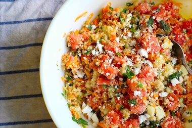 A watermelon quinoa salad is one of the seasonal dishes avaible at Dig Inn.
